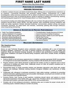 Process Technician Resumes Process Technician Resume Sample Amp Template