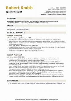 Speech Therapist Resume Speech Therapist Resume Samples Qwikresume
