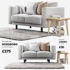 Sofa For Two 3d Image by 3d Ikea Norsborg Two Seat Sofa With Side Table And Rug