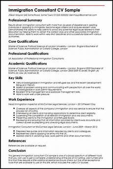 Immigration Consultant Resume Curriculum Vitae For Visa Application