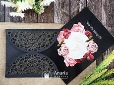 undangan pernikahan elegan laser cutting black vintage