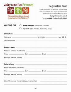 School Forms Templates Valley Christian Preschool Download A Registration Form