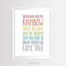 somewhere the rainbow skies are blue printable wall