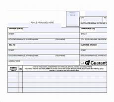 Short Form Bill Of Lading Free 9 Sample Bill Of Lading Forms In Pdf