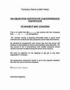 Sample Of Noc Letter From Company Noc Experience Certificate