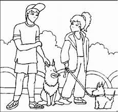 maedchen junge zwei hunde ausmalbild malvorlage kinder