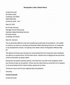 Resignation Letter 2 Weeks Free 9 Sample Letters Of Resignation In Pdf Ms Word