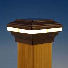 Trex Deck Post Solar Lights Saturn Led Post Cap Light By Aurora Deck Lighting