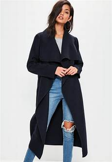 coats quarter sleeve oversized lyst missguided navy oversized sleeve waterfall