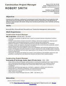 Project Manager Construction Resume Construction Project Manager Resume Samples Qwikresume