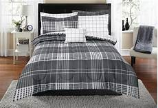 mainstays multi plaid bed in a bag bedding set grey