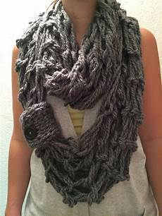 arm knit grey wrap infinity scarf with button loop