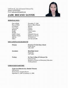 Personal Data In Resume Sample Simple Resume Format Sample Resume Format Basic
