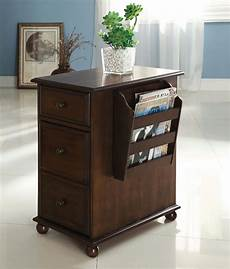 furniture of america zenners walnut side table with