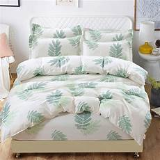 green white leaves plant bed fitted duvet cover elastic