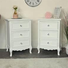 pair of white 3 drawer bedside tables range