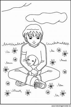 gratis malvorlagen zum junge mit seinem hund