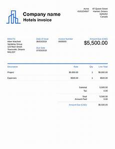 Accommodation Invoice Template Free Hotel Invoice Template Customize And Send In 90 Seconds