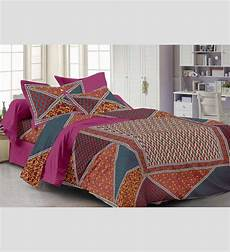 buy pink 100 cotton abstract single bed sheet with