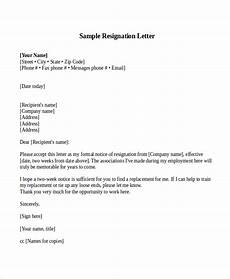 2 Week Notice Letter Examples Free 5 Sample Resignation Letter With 2 Week Notice