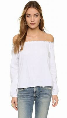white peasant blouse chaser shoulder cotton peasant blouse in white lyst