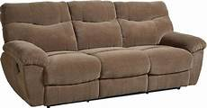 escapade taupe brown reclining sofa from standard