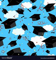 Graduation Card Background Graduation Caps In The Air Graduate Background Vector Image