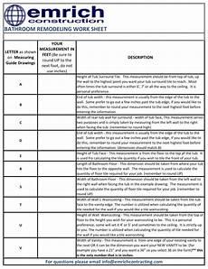 Remodel Worksheet Bathroom Renovation Budget Worksheet Remodel Spreadsheet