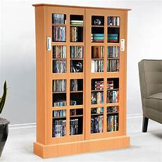 media storage cabinet with doors dvd shelves display
