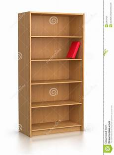 scaffale per libri libro rosso in scaffale per libri vuoto fotografia stock