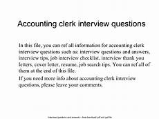 Accounting Interview Questions And Answers Accounting Clerk Interview Questions