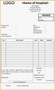 Medicine Bill Format In Word Hospital Invoice Template Word Hospital Bill Format Word