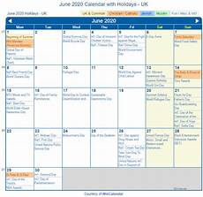 June 2020 Calendar With Holidays Print Friendly June 2020 Uk Calendar For Printing