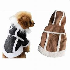 clothing for dogs suede warm winter hoodie small
