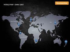 Black And Grey World Map Keynote Template World Map Dark Grey