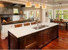 Kitchen Island. Kitchen Island Ideas. Large island with sink and marble countertop. #