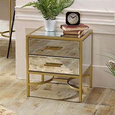 gold mirrored bedside occasional table venus range in
