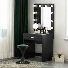 modern 10 led lighted vanity table set with drawer and