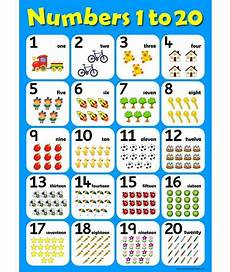 Alphabet And Number Wall Charts A3 Numbers 1 To 20 Childrens Wall Chart Educational