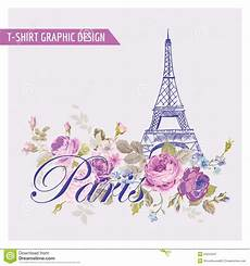 Paris Designs T Shirt Floral Paris Graphic Design Stock Vector