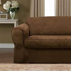 piped faux suede separate seat sofa slipcover 4170