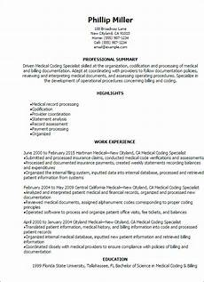Medical Coding Examples Professional Medical Coding Specialist Resume Templates To