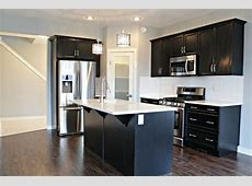 Open Concept Kitchen, Dining, and Livingroom with Dark Cabinets and Hardwood Flooring The