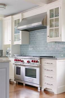 Light Blue Kitchen Tiles Love This Classic White Kitchen With Pale Blue Subway Tile
