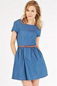 blue denim neck sleeve casual dress 013496