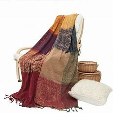 unigarden chenille jacquard tassels throw blankets for bed