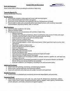 Resume Job Responsibilities Examples A Cna Job Description Let S Read Between The Lines