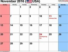 November Calendar Decorations November 2016 Calendars For Word Excel Amp Pdf