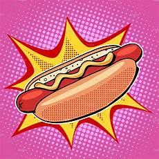 Pop Art Food Dog Fast Food Vector Pop Art Illustrations