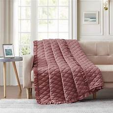 bourina quilted throw blanket with ruffles pre washed